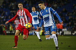 December 22, 2017 - Barcelona, Spain - Fernando Torres and Mario Hermoso during the La Liga match between RCD Espanyol and Atletico de Madrid, in Barcelona, on December 22, 2017. Photo: Joan Valls/Urbanandsport/Nurphoto  (Credit Image: © Joan Valls/NurPhoto via ZUMA Press)