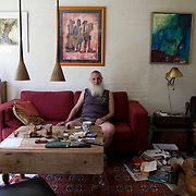 Toustrup Mark Community,  Sporup, Denmark, June 5, 2010. <br /> Mogens Steen in his apartment. Mogens has been living in Toustrup Mark for more than twenty years. <br /> Toustrup Mark, 30 km west of Aarhus, has 25 apartments and a total of 70 inhabitants.<br /> The community is spread over 50,000 m2 of land with a forest, a soccer field, a volleyball court and a private beach.