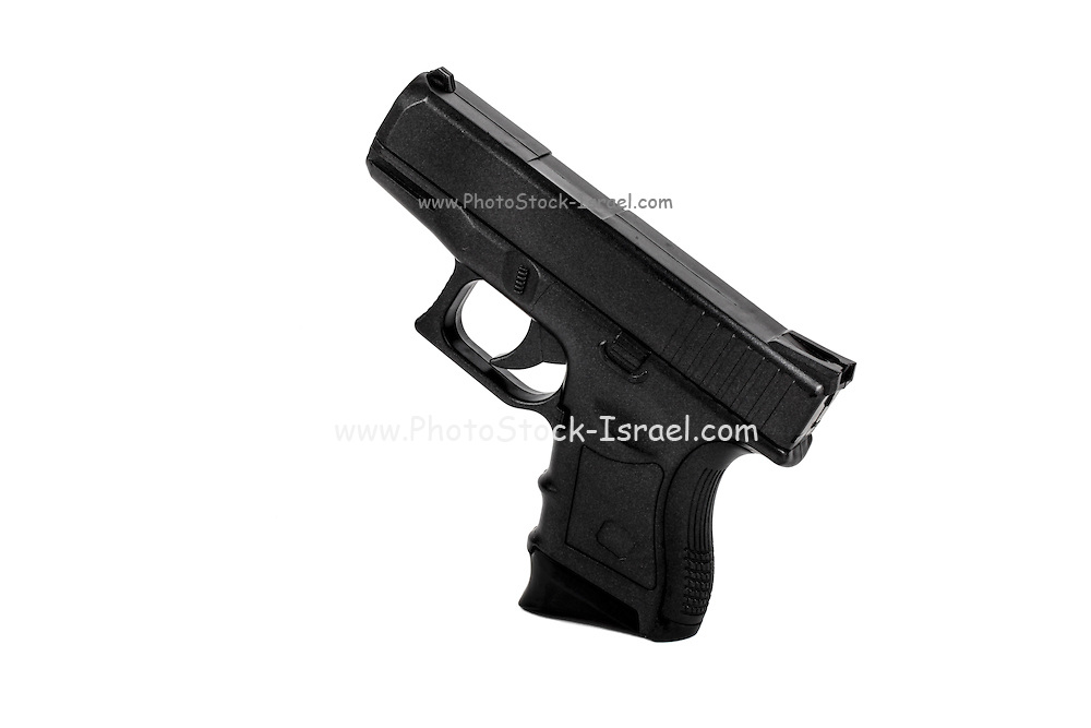 A semi-automatic hand gun on white background