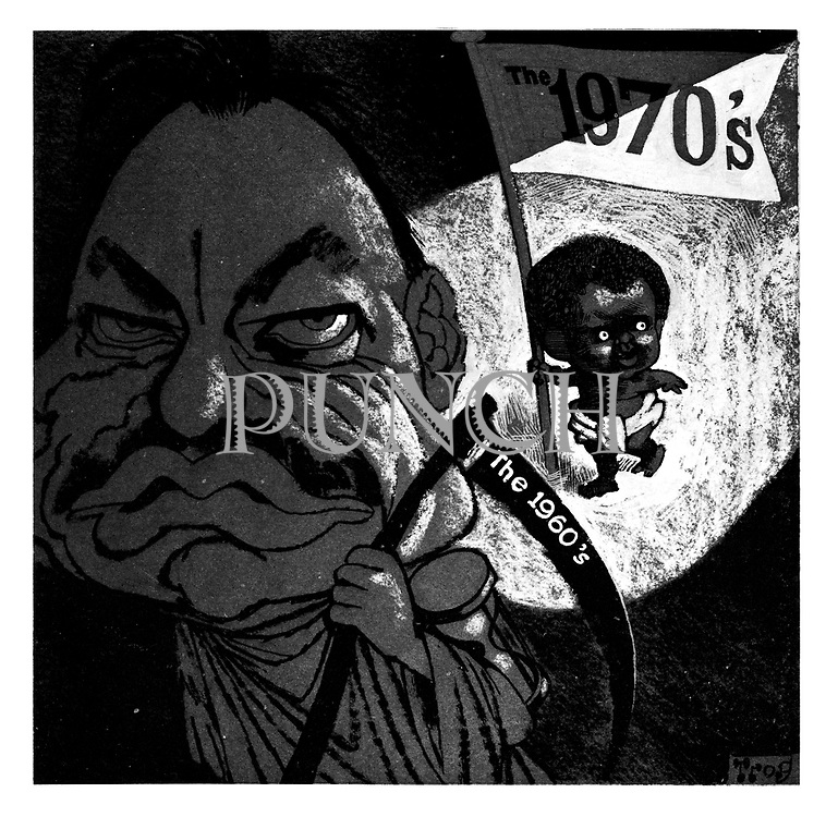 (Enoch Powell as Old Father Time leads out the 1960's to make way for a black toddler representing the 1970's)