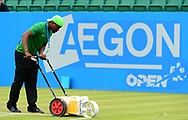 a Line Painter working. The Aegon Open Nottingham 2017, international tennis tournament at the Nottingham tennis centre in Nottingham, Notts , day 2 on Tuesday 13th June 2017.<br /> pic by Bradley Collyer, Andrew Orchard sports photography.