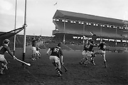 26/02/1967<br /> 02/26/1967<br /> 26 February 1967<br /> Railway Cup Semi-Finals: Leinster v Connacht at Croke Park, Dublin. <br /> Connacht forwards clash sticks with the Leinster defence as Leinster goalie, O. Walsh gets a clear chance to save.