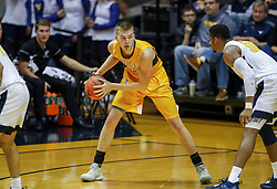 Nov 24, 2018; Morgantown, WV, USA; Valparaiso Crusaders center Derrik Smits (21) pauses with the ball during the second half against the West Virginia Mountaineers at WVU Coliseum. Mandatory Credit: Ben Queen-USA TODAY Sports