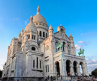 Sacre-Coeur is a popular landmark on top of Montmartre, the highest point in Paris, France.