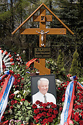 Moscow, Russia, 26/04/2007..Russians visit Boris Yeltsin's grave to pay their last respects after Novodevichy Cemetery was  reopened to the public on the day following the former Russian President's funeral..