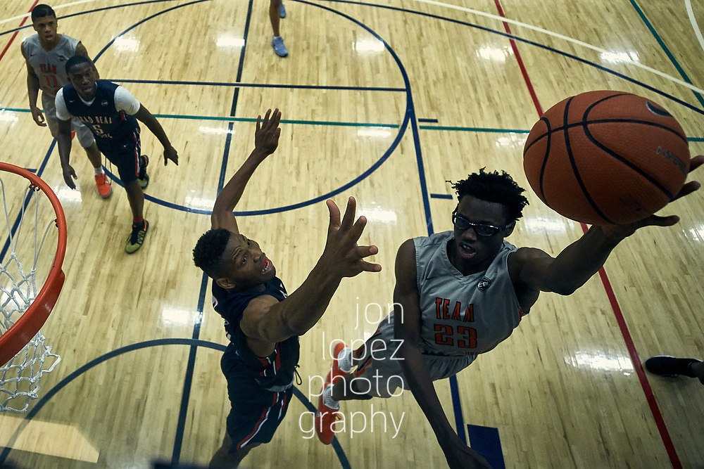 NORTH AUGUSTA, SC. SATURDAY JULY 15, 2017. Peach Jam. Jalen Smith #23 of Team Takeover extends for the layup. NOTE TO USER: Mandatory Copyright Notice: Photo by Jon Lopez