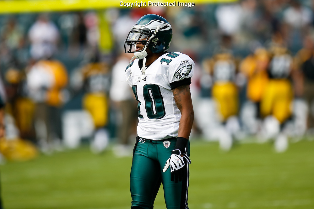 21 Sept 2008: Philadelphia Eagles wide receiver DeSean Jackson #10 before the game against the Pittsburgh Steelers on September 21st, 2008.  The Eagles won 15-6 at Lincoln Financial Field in Philadelphia Pennsylvania.