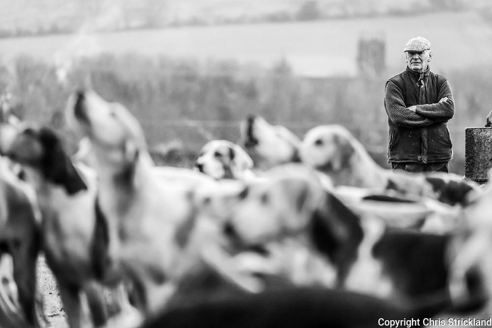 Yetholm, Kelso, Scottish Borders, UK. 26th November 2018. The Duke of Buccleuch Hunt meet at Yetholm village near the Anglo Scottish Border on a wet Novembers day.