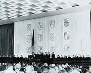 Session of the German Parliament in 1949 addressed by Konrad Adenauer (1876?1967), German statesman. First Chancellor of West Germany from 1949?1963 and chairman of the Christian Democratic Union from 1950 to 1966.