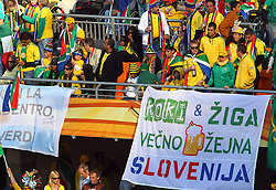 Slovenia supporters cheers prior to the kick-off of the Group A first round 2010 FIFA World Cup South Africa match between South Africa and Mexico at Soccer City Stadium on June 11, 2010 in Johannesburg, South Africa.  (Photo by Vid Ponikvar / Sportida)