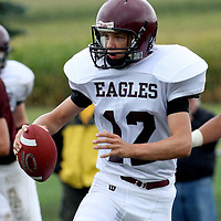 Ellicottville's NY QB Cameron Wilson looking for running room against Clymer NY  photo by Mark L. Anderson