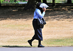 © Licensed to London News Pictures. 01/08/2018<br /> Greenwich, UK. A woman shelters from the sunshine on Greenwich Park, as a heatwave is set to return to the UK. Photo credit: Grant Falvey/LNP