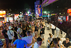 © Licensed to London News Pictures.  02/07/2021. Magaluf, Spain. Holidaymakers from England make the most of a Friday night in Magaluf as Balearic Islands were added on the UK 'green list' on Wednesday. Photo credit: Marcin Nowak/LNP