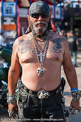 Albert Diaz of San Antonio at the Full Throttle Saloon during the Annual Sturgis Black Hills Motorcycle Rally. SD, USA. August 7, 2014.  Photography ©2014 Michael Lichter.