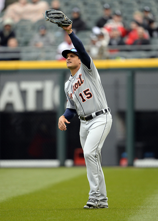 CHICAGO - APRIL 04:  Mikie Mahtook #15 of the Detroit Tigers fields during the game against the Chicago White Sox on April 04, 2017 at Guaranteed Rate Field in Chicago, Illinois.  The Tigers defeated the White Sox 6-3.  (Photo by Ron Vesely)   Subject:  Mikie Mahtook