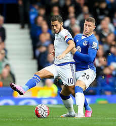 Everton's Ross Barkley tackles Eden Hazard of Chelsea - Mandatory byline: Matt McNulty/JMP - 07966386802 - 12/09/2015 - FOOTBALL - Goodison Park -Everton,England - Everton v Chelsea - Barclays Premier League