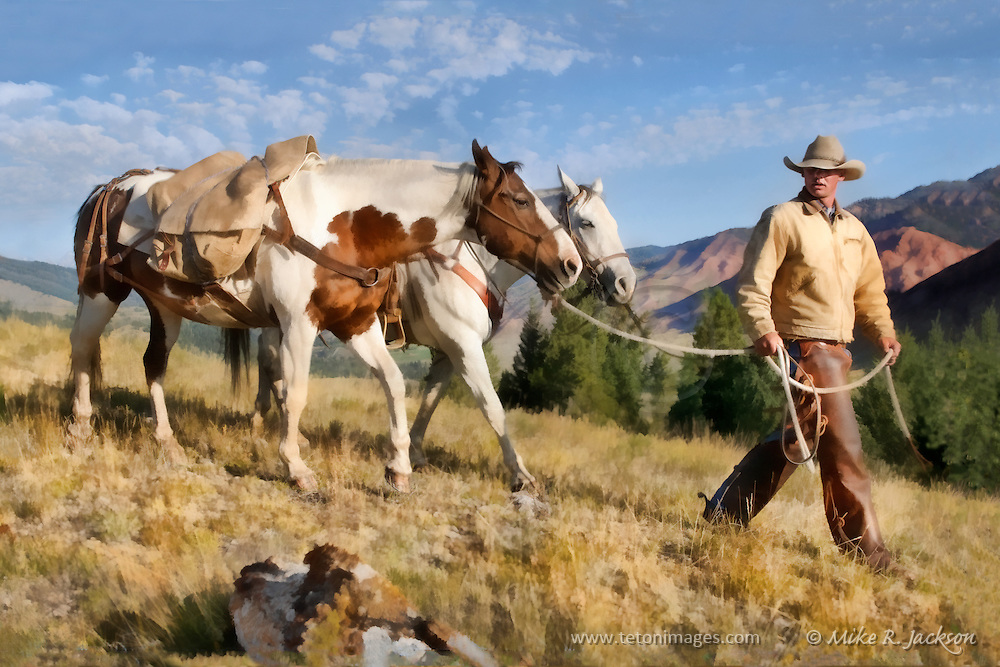 An artistic expression of a wrangler walking his horses across the ridge line in Jackson Hole, WY.