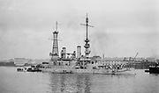 0613-2B007. Battleship Oregon in Portland harbor, Oregon.