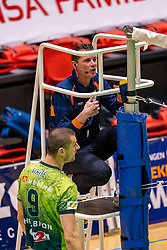 Referee Daniel Jettkandt in action during the semi cupfinal between Active Living Orion vs. Amysoft Lycurgus on April 03, 2021 in Saza Topsportshall Doetinchem