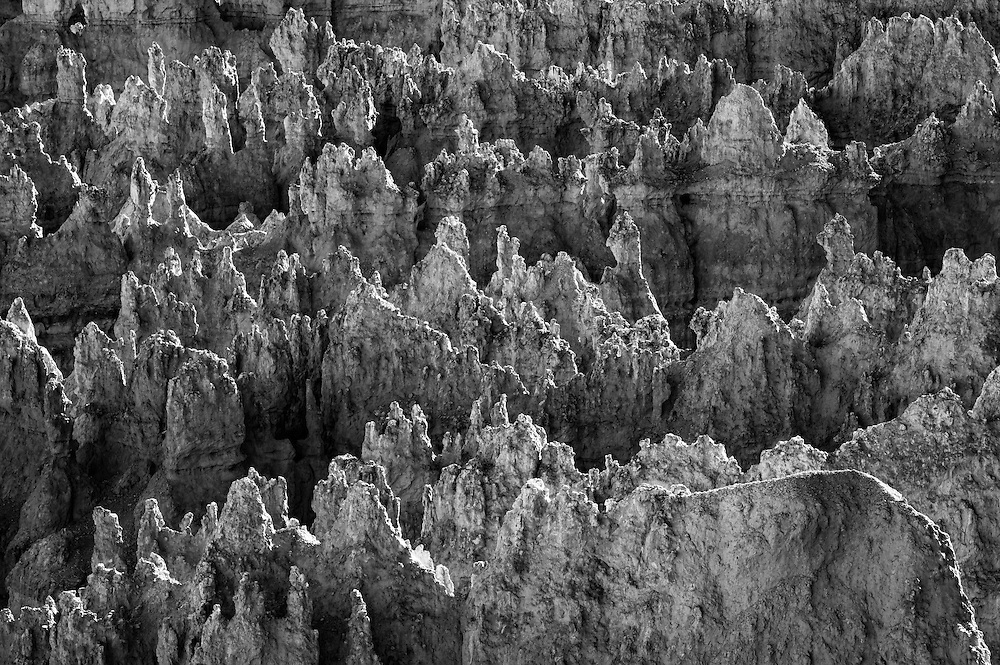"""The Paiute Indians believed the """"hoodoos"""" were the petrified bodies of the """"Legend People"""", who inhabited the region before the Native American's, massive stone formations frozen in time as punishment for bad behavior.  This is a black and white shot of the hoodoo's of """"Wall Street"""" in Bryce Canyon, Utah as the final light of the day brushes the stones, giving them form."""