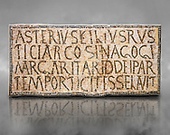 """6th century Inscription of the great hall of the synagogue of Nam-Ham-mam-Lif in the Roman province of Africa Proconsularis, present day Tunisia. The mosaic floor of the vestibule (porticus) was an offering from Asterius son of Rusticus, the Head of the Jewish community who was working in the Naro jewellers trade. The mosaic reads in Latin  """"Asterius, filius Rustici, arcosinagogi, margaritari, (de d(onis) dei partemporticites-selavit"""".  The Bardo National Museum, Tunis Tunisia. Against a grey art background.<br /> <br /> The so called synagogue of Naro (Hammam-Lif, Tunisia), discovered in 1883, is a square buil-ding (20 by 20 m), consisting of several rooms and hallways communicating with an inner courtyard. The plan is inspired by traditional domestic architecture of Roman Africa. The room, dedicated to religious ceremonies, was paved with a magnificent mosaic of several figured panels with an iconography highlighting Judaeo-Christian concepts, attesting a proselyte attitude addressing a local Judaic community, who was very active between the late fifth c. and the early sixth century AD."""