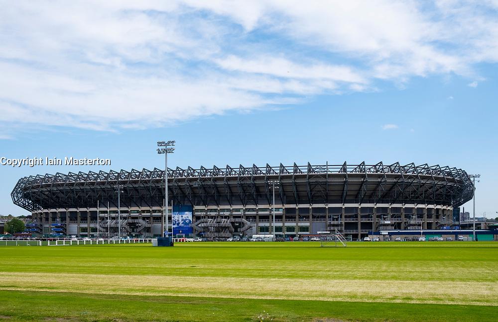 View of Murrayfield Stadium home of Scottish rugby union in Edinburgh, Scotland, United Kingdom, UK