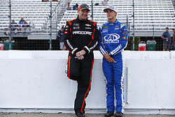September 22, 2017 - Loudon, New Hampshire, United States of America - September 22, 2017 - Loudon, New Hampshire, USA: Trevor Bayne (6) and Michael McDowell (95) hang out on pit road prior to qualifying for the ISM Connect 300 at New Hampshire Motor Speedway in Loudon, New Hampshire. (Credit Image: © Justin R. Noe Asp Inc/ASP via ZUMA Wire)
