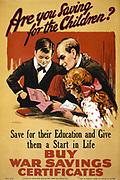 World War I poster for wartime savings. Circa 1914-15