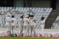 August 30, 2017 - Mirpur, Bangladesh - Bangladesh celebrate after they defeated Australia during day four of the First Test match between Bangladesh and Australia at Shere Bangla National Stadium on August 30, 2017 in Mirpur, Bangladesh. (Credit Image: © Ahmed Salahuddin/NurPhoto via ZUMA Press)