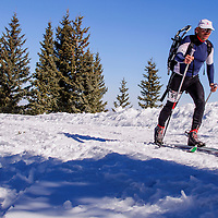 Silvio Lopez glides toward the first ski and snowshoe transition during the Mount Taylor Quadrathlon in Grants Saturday.