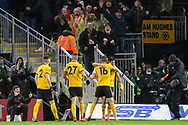 GOAL - Wolverhampton Wanderers forward Raul Jimenez (9) celebrates with Wolverhampton Wanderers defender Conor Coady (16) 1-0 during the The FA Cup match between Wolverhampton Wanderers and Manchester United at Molineux, Wolverhampton, England on 16 March 2019.