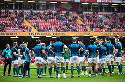 Ireland during the pre match warm up<br /> <br /> Photographer Simon King/Replay Images<br /> <br /> Six Nations Round 5 - Wales v Ireland - Saturday 16th March 2019 - Principality Stadium - Cardiff<br /> <br /> World Copyright © Replay Images . All rights reserved. info@replayimages.co.uk - http://replayimages.co.uk
