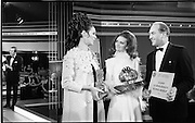07/01/1969.01/07/1969.07 January 1969.Eurofashion Final at Shelbourne Hotel. The Irish section of the 1969 Eurofashion Contest judged by John McGuire, Miss Leonora Currie and Mrs Nuala Mc Laughlin. Pictured are winner Colette Dowling (21) Kincora Road, Clontarf,(centre) and model Liz Willoughby, wearing one of Miss Dowling's winning outfits, being presented with 1st prize by George Collley, Minister for Industry and Commerce. the trophy was designed by Patrick MacMahon.