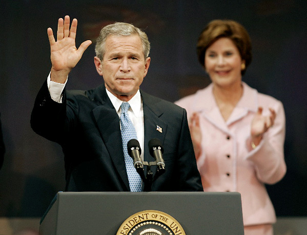George  Bush gives a victory speech at the Ronald Reagan Building in Washington, D.C. with first lady Laura Bush behind him after being re-elected.