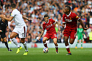Philippe Coutinho of Liverpool (c) in action. Premier League match, Liverpool v Burnley at the Anfield stadium in Liverpool, Merseyside on Saturday 16th September 2017.<br /> pic by Chris Stading, Andrew Orchard sports photography.