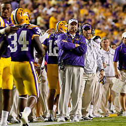 October 16, 2010; Baton Rouge, LA, USA; LSU Tigers head coach Les Miles is watches from the sideline during the first halfagainst the McNeese State Cowboys  at Tiger Stadium.  Mandatory Credit: Derick E. Hingle