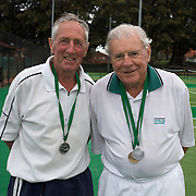 Arthur Newnham, Australia,  and Alan Day, Australia, (right) Runner Up 85 Mens Doubles during the 2009 ITF Super-Seniors World Team and Individual Championships at Perth, Western Australia, between 2-15th November, 2009.