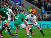 Twickenham, England, 23rd February, Guinness Six Nations, International Rugby, Ben YOUNGS, looking for a pass round Rob HERRING,  during the England vs Ireland, RFU Stadium, United Kingdom, [Mandatory Credit; Peter SPURRIER/Intersport Images]
