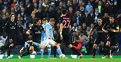 Kevin De Bruyne of Manchester City scores his sides first goal  - Mandatory byline: Matt McNulty/JMP - 07966386802 - 12/04/2016 - FOOTBALL - Etihad Stadium -Manchester,England - Manchester City v Paris Saint-Germain - UEFA Champions League - Quarter Final Second Leg