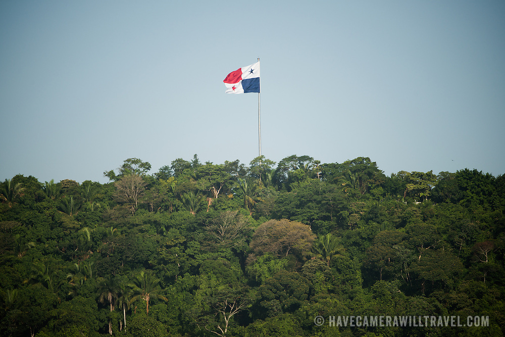 A large Panamanian flag flies atop Ancon Hill overlooking Panama City, Panama.