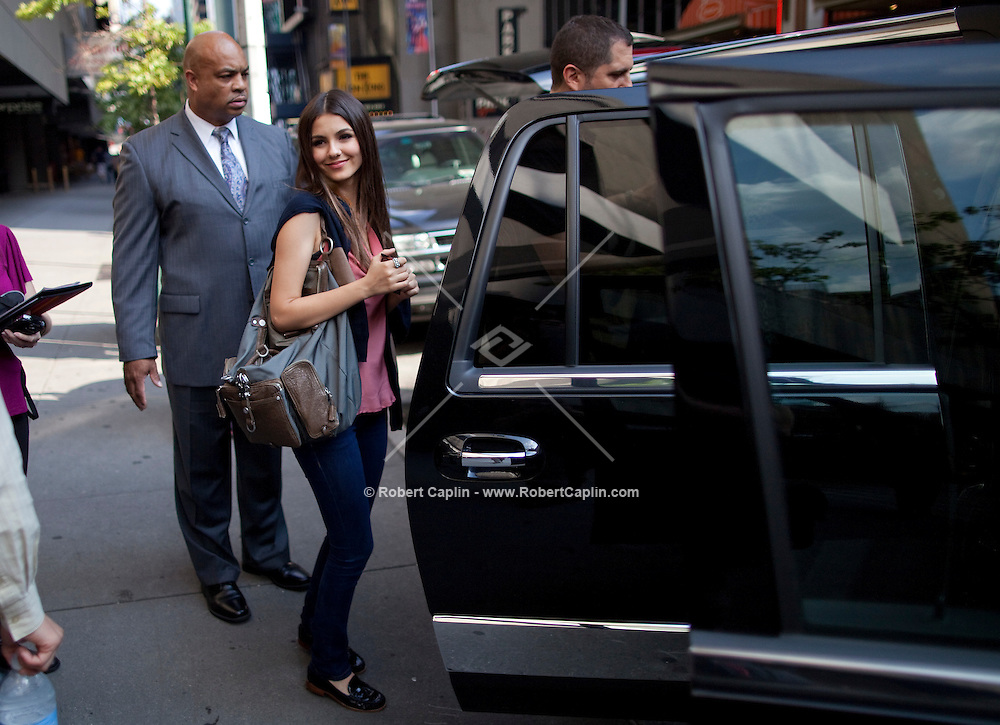 Actress and singer Victoria Justice at the Marriott Hotel in New York after delivering a speech at a Nickelodeon staff town hall meeting during Fall Fashion week 2011. ..Photo by Robert Caplin.
