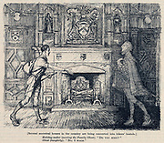 Youth Hostels established in some stately homes. Cartoon from 'Punch', London, 1932.