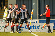GOAL! Brad Lyons of St Mirren celebrates his winner during the Ladbrokes Scottish Premiership match between St Mirren and Dundee at the Paisley 2021 Stadium, St Mirren, Scotland on 30 March 2019.