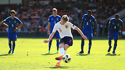 England U17's Tommy Doyle scores his side's second goal of the game during the UEFA European U17 Championship, Group A match at Banks's Stadium, Walsall.