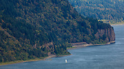 Sailing the Columbia River, Columbia River Gorge from Oregon.