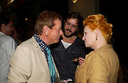 Nicky Haslam, Andreas Kronthaler and Vivienne Westwood. Tracey Emin's ' When I Think about Sex' exhibition after-party. Momo. Heddon St. London. 26 May 2005. ONE TIME USE ONLY - DO NOT ARCHIVE  © Copyright Photograph by Dafydd Jones 66 Stockwell Park Rd. London SW9 0DA Tel 020 7733 0108 www.dafjones.com