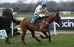 Hazel Hill ridden by Alex Edwards on their way to victory in the Overbury Stud Willoughby De Broke Open Hunters' Chase during Midlands Raceday at Warwick Racecourse.