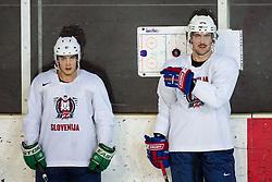 Eric Pance and Anze Kopitar at first practice of Slovenian National Ice Hockey team before EIHC tournament in Ljubljana, on November 5, 2012 in Ledena dvorana Bled, Bled, Slovenia. (Photo by Matic Klansek Velej / Sportida.com)
