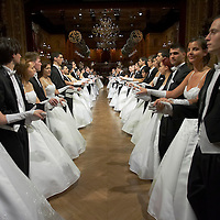 Vienese waltz of fourty dancing coupples open the annual Opera Ball in the Budapest Opera House.