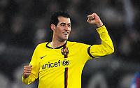 Fotball<br /> UEFA Champions League<br /> Basel v Barcelona<br /> 22.10.2008<br /> Foto: EQ Images/Digitalsport<br /> NORWAY ONLY<br /> <br /> Jubel von Sergi Busquets nach dem Tor zum 0:2